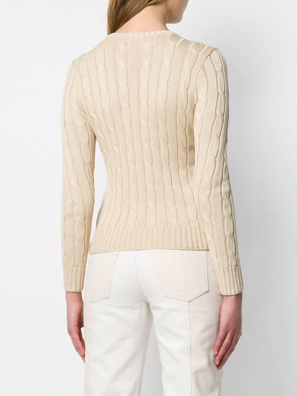 7ebf2b47e9c Lyst - Polo Ralph Lauren Cable Knit Sweater in Natural