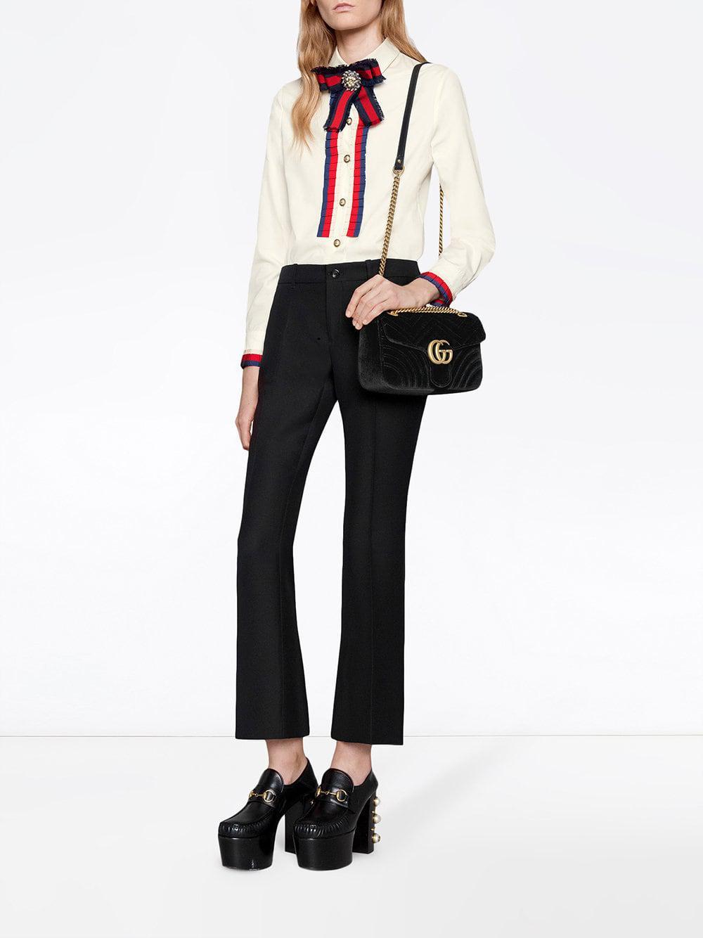 ea39f9f3f1c9 Lyst - Gucci GG Marmont Velvet Shoulder Bag in Black - Save 27%