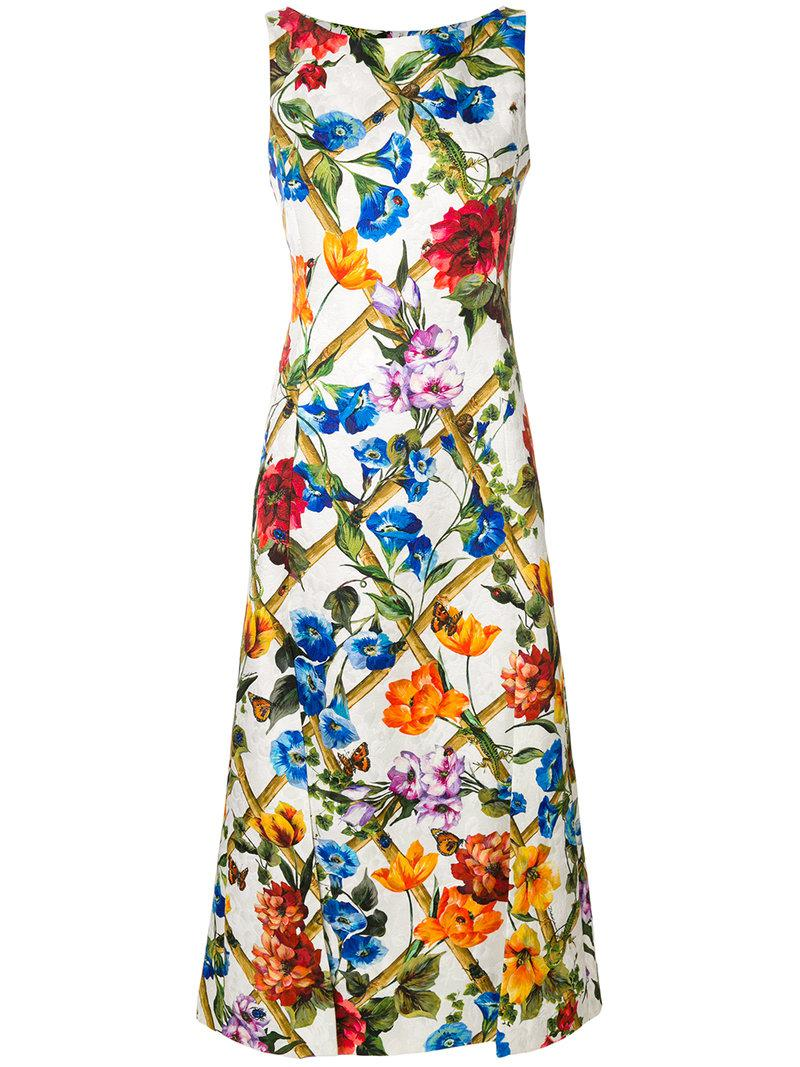 Dolce   Gabbana Floral Printed Dress in White - Lyst afc3280d3