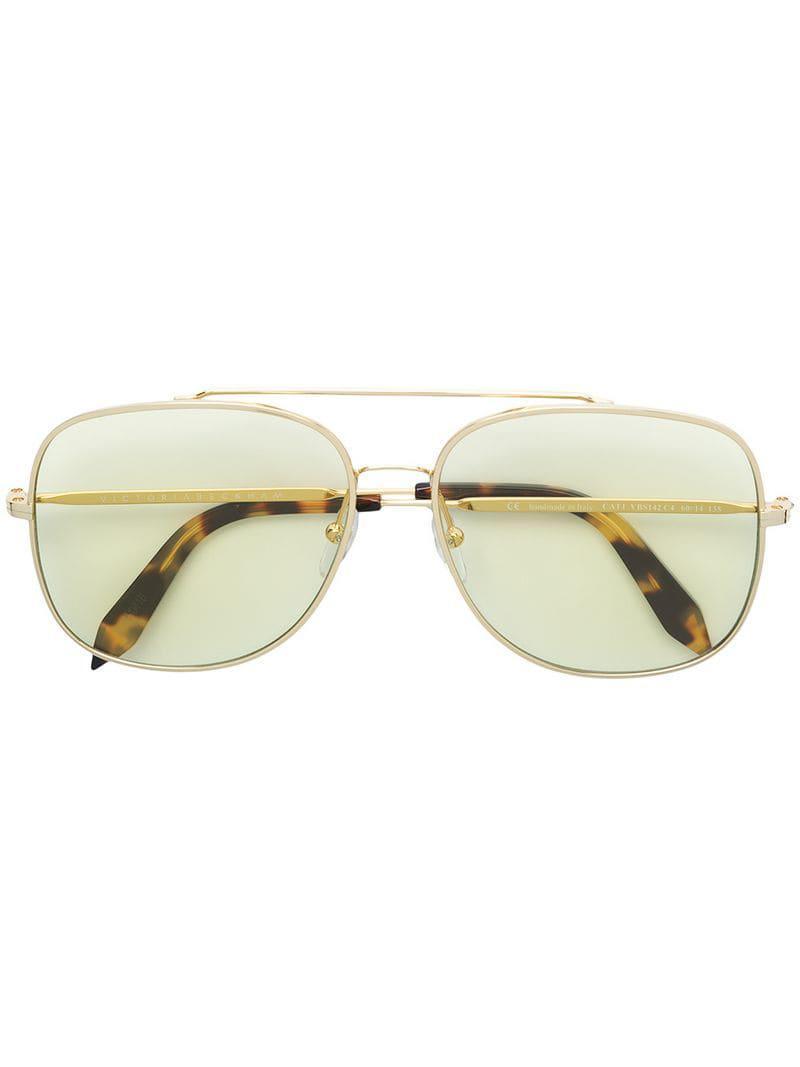 352b3e07d6 Victoria Beckham Navigator Frame Sunglasses in Metallic - Lyst