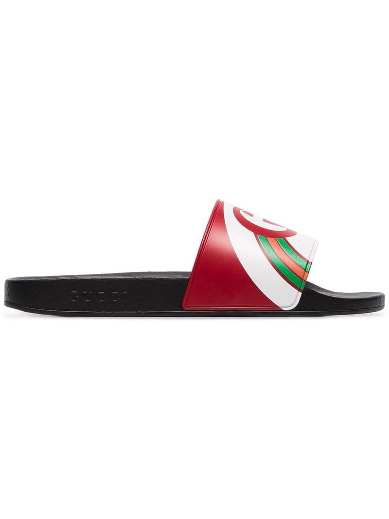 1694b4588ce5f Lyst - Gucci Multicoloured Pursuit Logo Slides in Red for Men - Save 22%