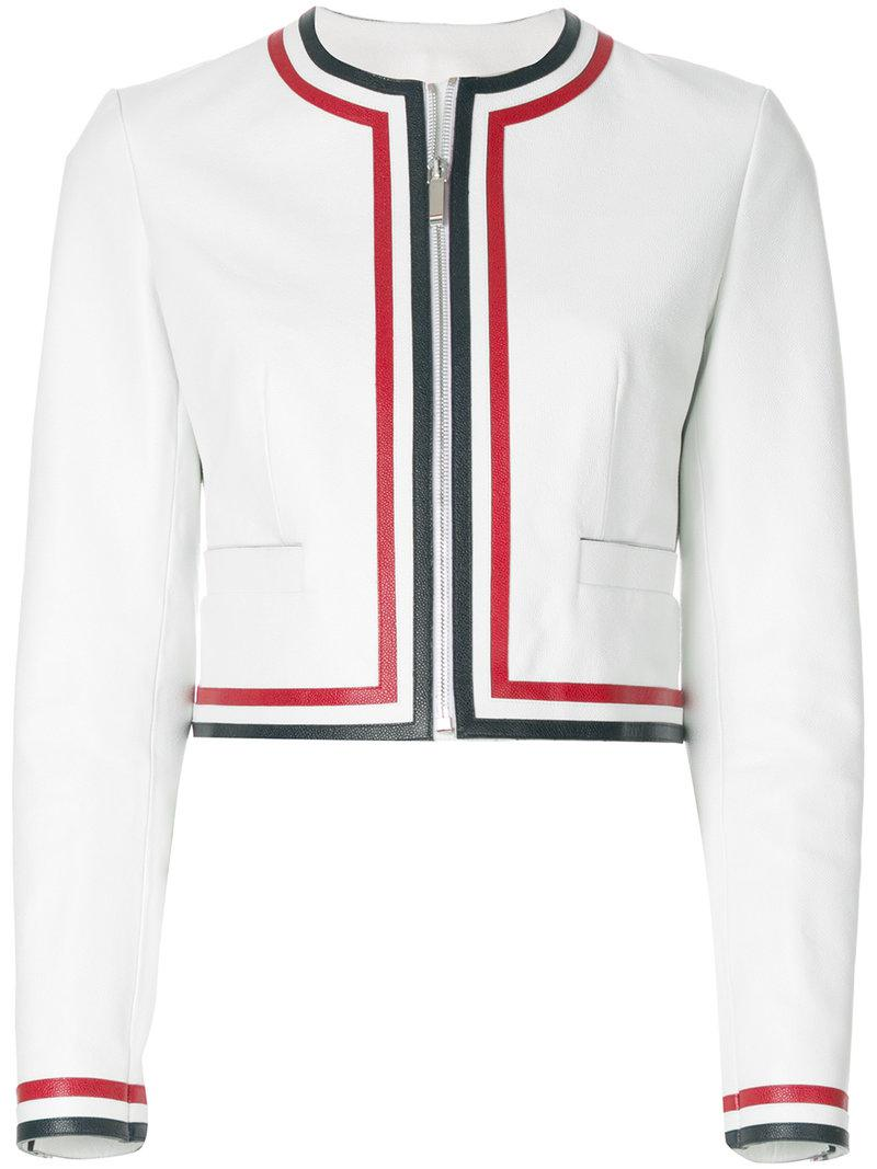 972053cdba26 Thom Browne Zip Up Cardigan Jacket With Red