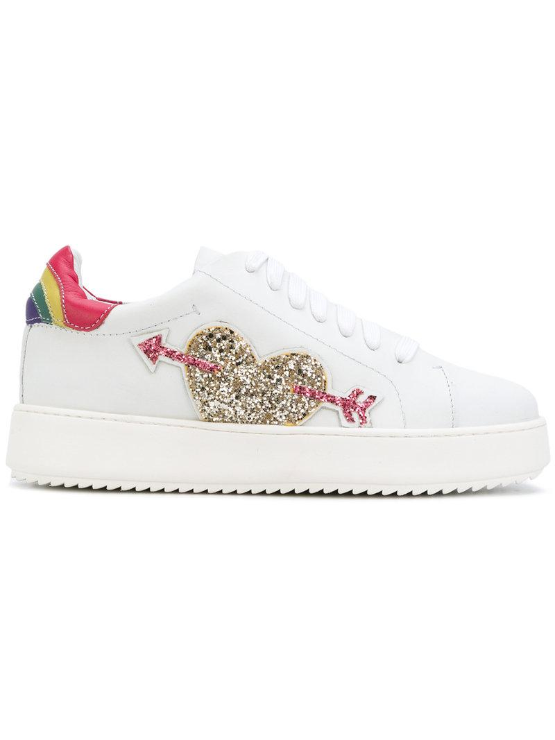 super popular 36638 d5d87 Twin Set Sequin Heart Sneakers in White - Lyst