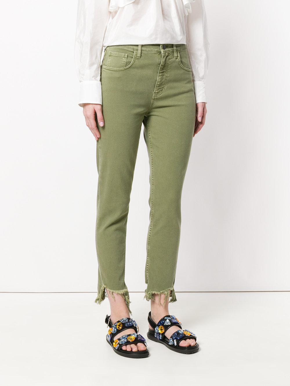 Mih Jeans Mimi High Rise Vintage Slim Jean with Raw Hem - Nova green Mih Jeans BUUZtV