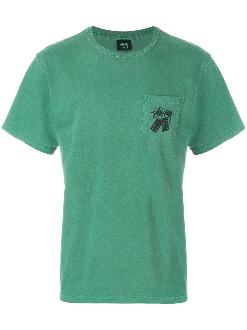 Lyst stussy domino logo print t shirt in green for men for Shirts with logo print