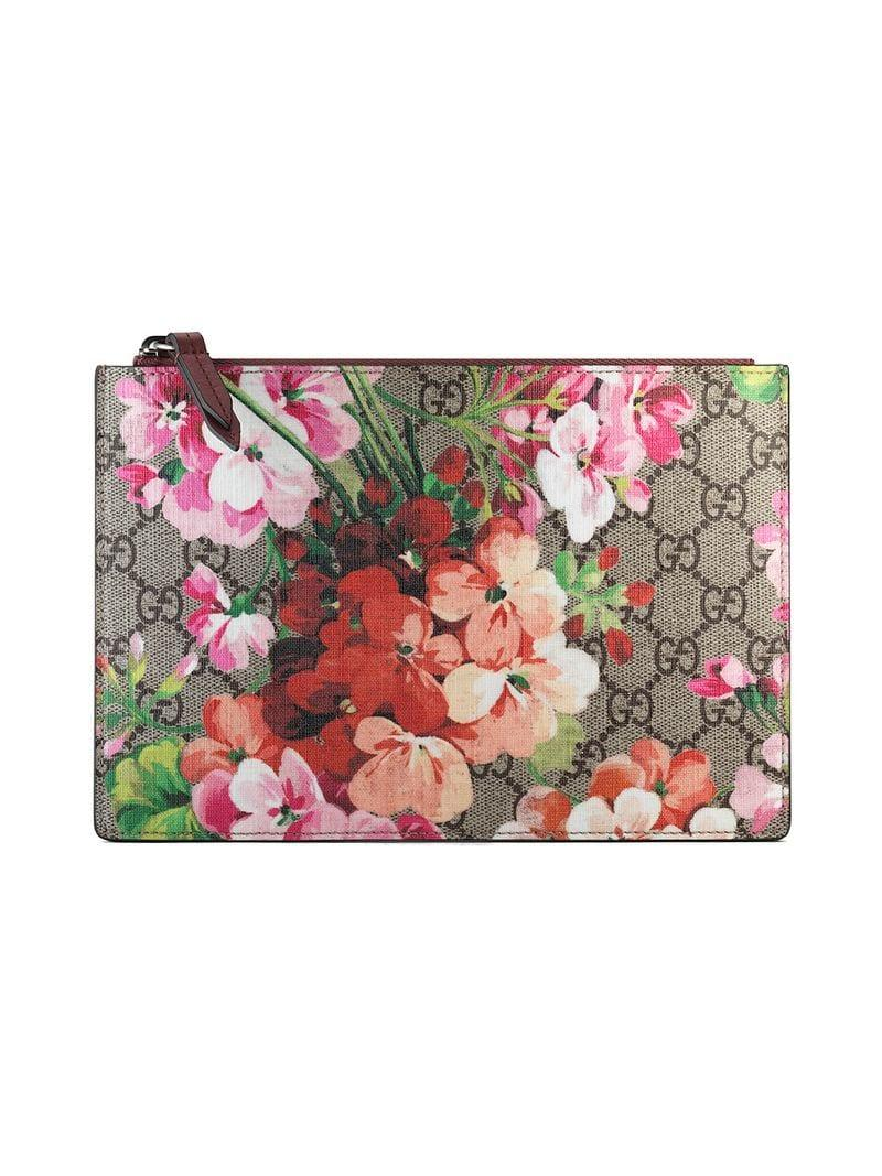 9a1c5bf6d67aa Lyst - Gucci GG Blooms Pouch in Brown