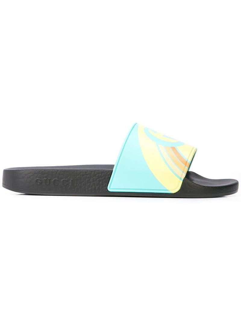 00af2175550 Lyst - Gucci Pursuit Logo Slides in Blue for Men
