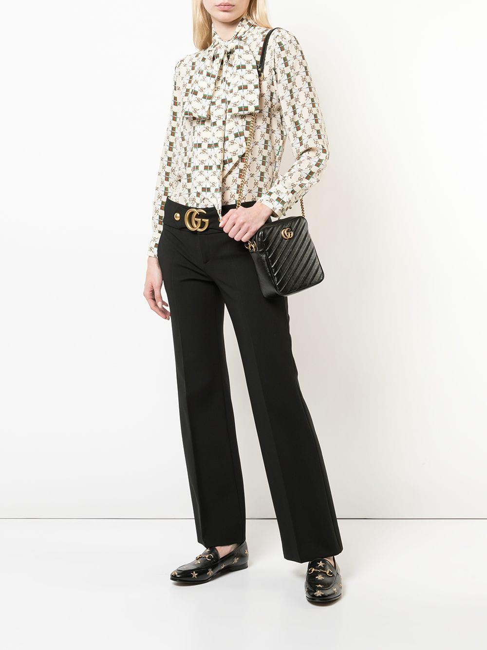 c0f629099f Gucci GG Marmont Mini Shoulder Bag in Black - Lyst