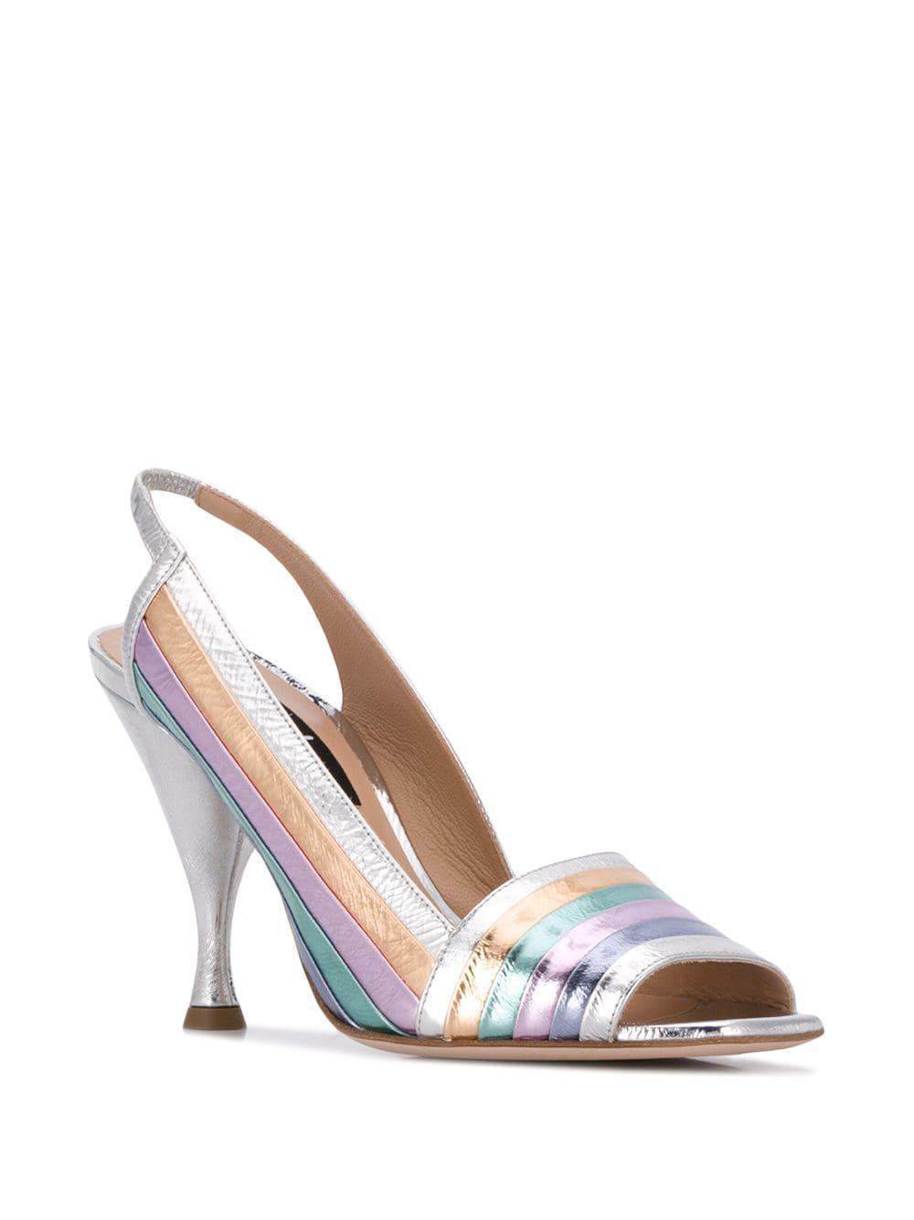 5f442b683 Sebastian - Metallic Stripe Sandals - Lyst. View fullscreen