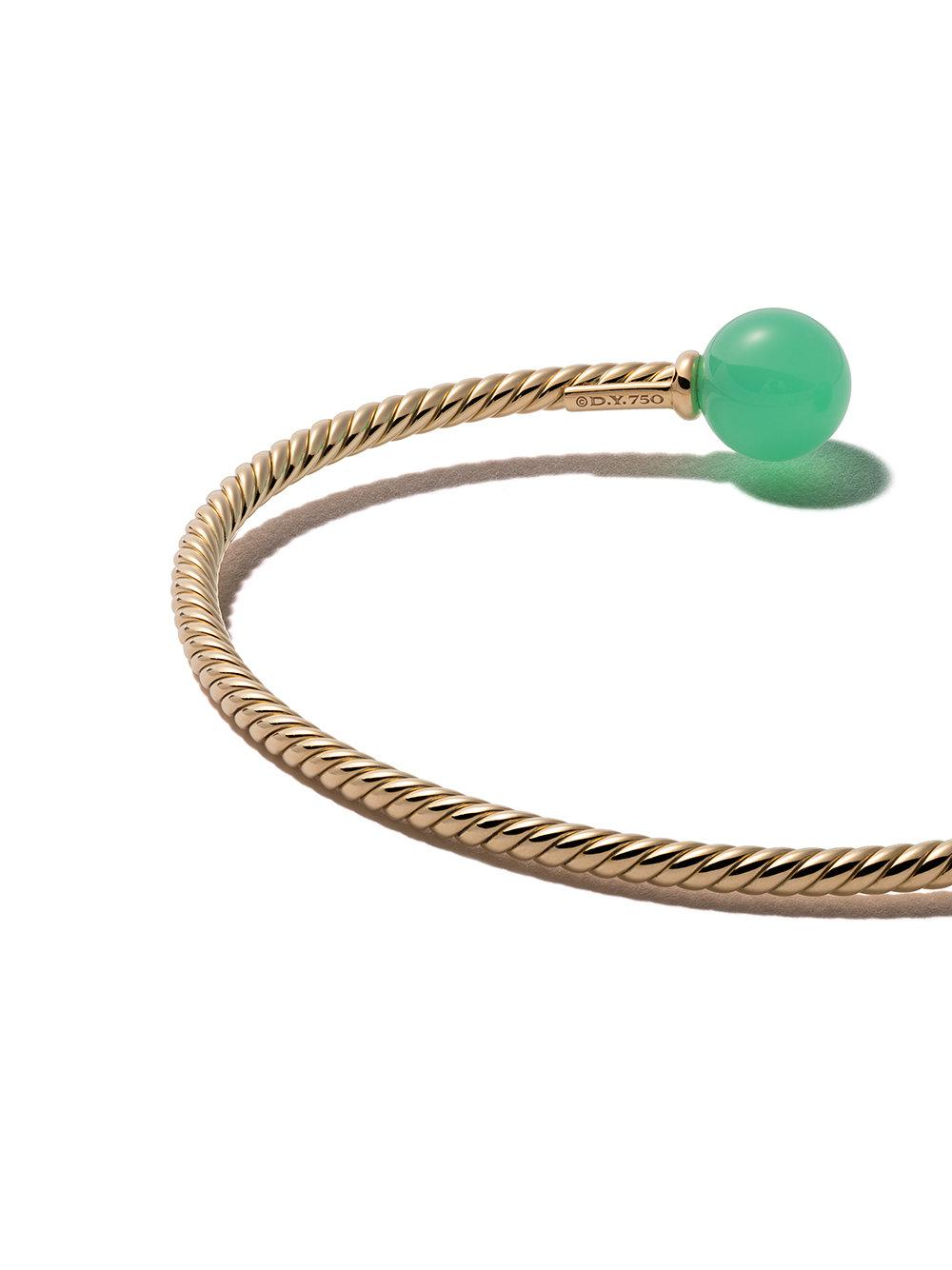 18kt yellow gold Solari chrysoprase bead cuff bracelet - Green David Yurman 2hGYYv3BYY