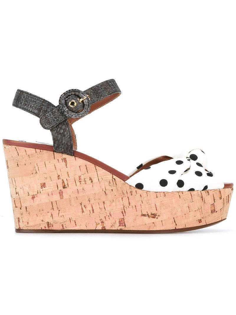 1f05cd948856 Lyst - Dolce   Gabbana Polka Dot Wedge Sandals in White