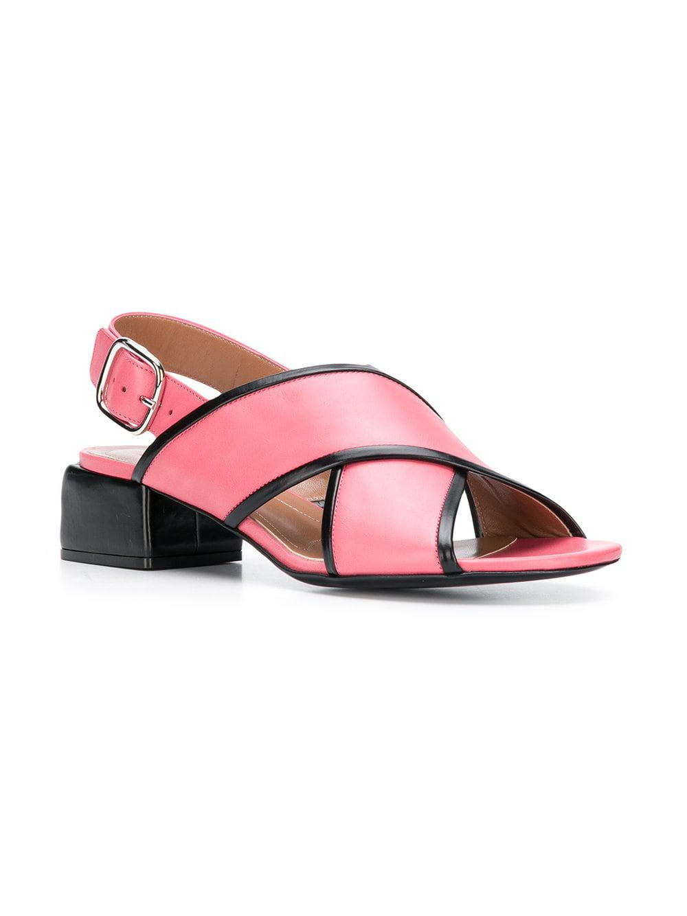 3877937aa80 Marni - Pink Leather Crossover Sandals - Lyst. View fullscreen