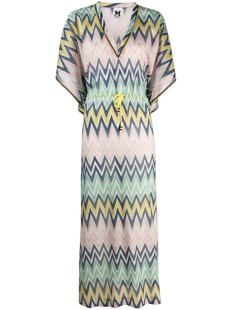 e56c4b2bd7 Lyst - M Missoni Chevron Printed Maxi Dress in Green