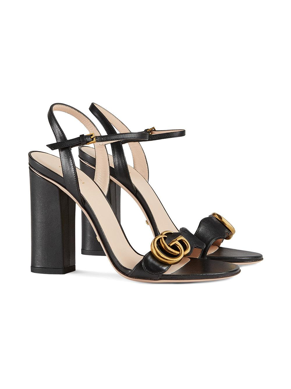 973dc3a3ed0ab Gucci Leather Sandals in Black - Save 9.243697478991592% - Lyst