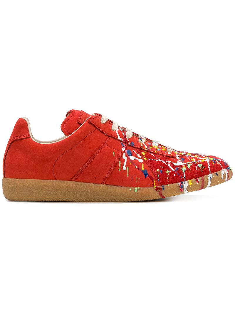 573bcfced84f Lyst - Maison Margiela Replica Paint Design Sneakers in Red for Men