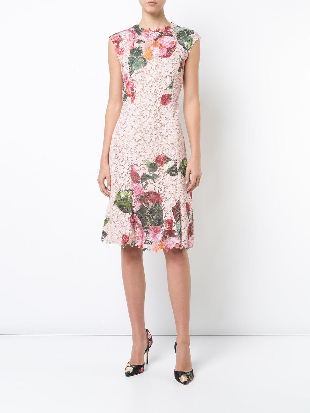 floral lace dress - Pink & Purple Monique Lhuillier GgN2XUxI