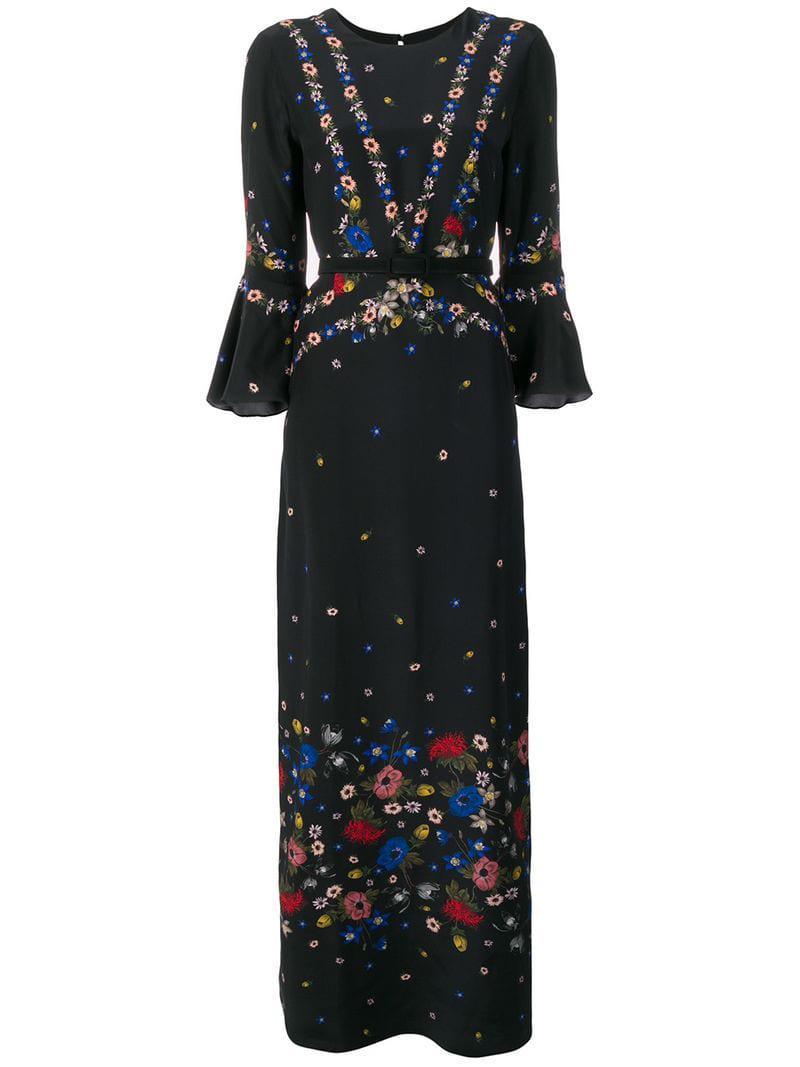 737157c18b Erdem - Black Floral Print Maxi Dress - Lyst. View fullscreen