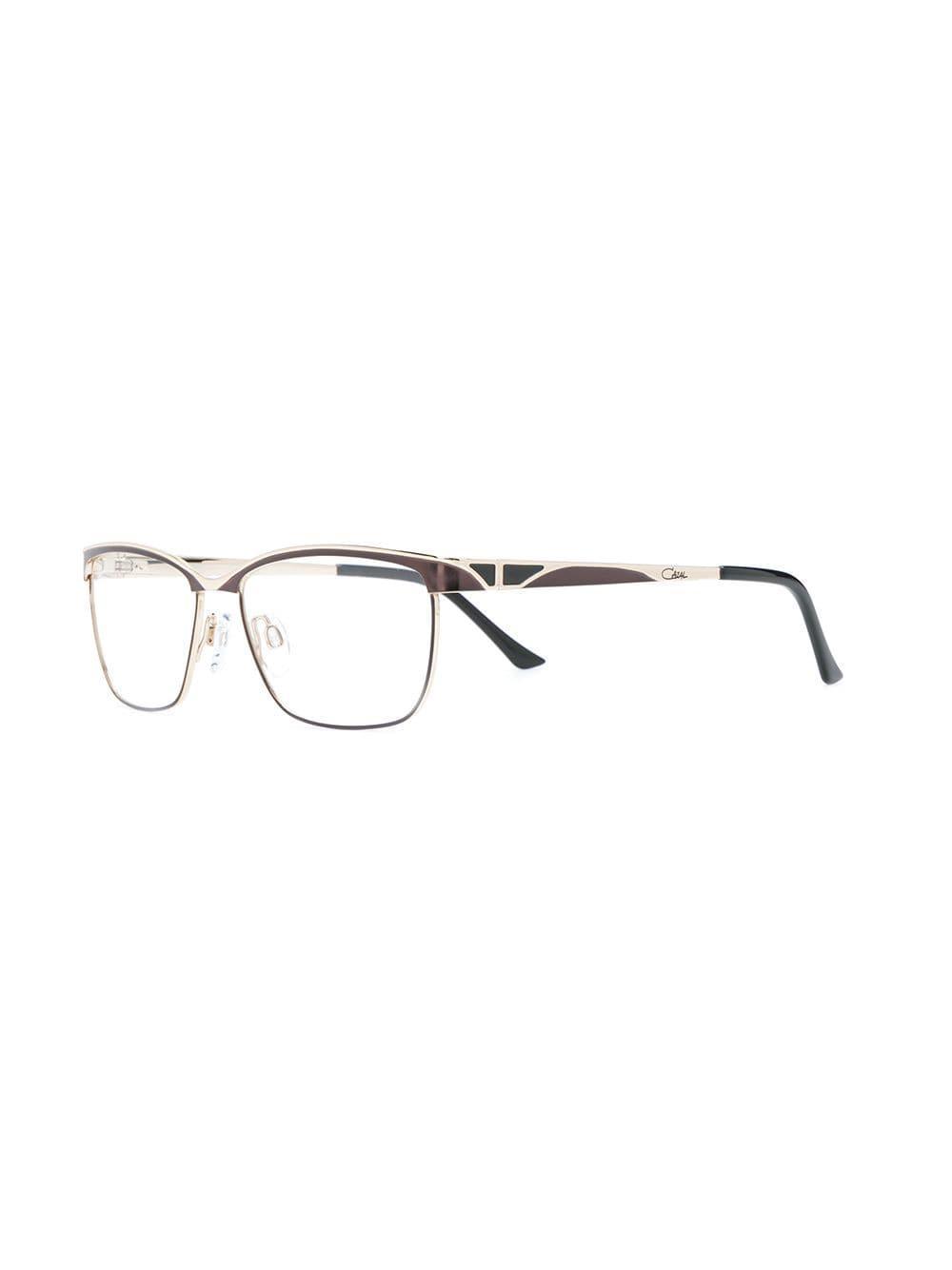Lyst - Cazal Rectangle Frame Glasses in Brown