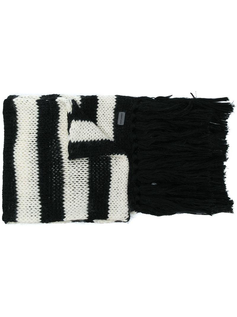 c8b5bc2f48bd4 Saint Laurent Striped Scarf in Black for Men - Lyst