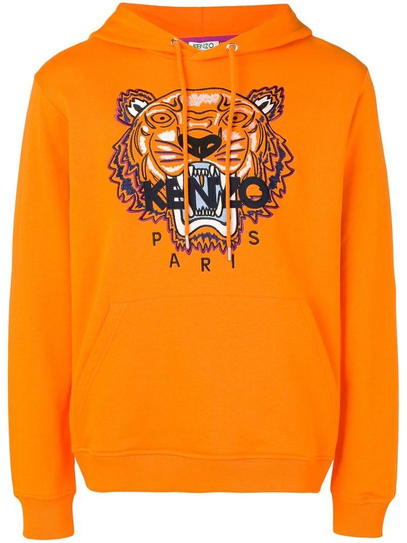 880ec5dc Lyst - Kenzo Tiger Print Hoodie in Orange for Men