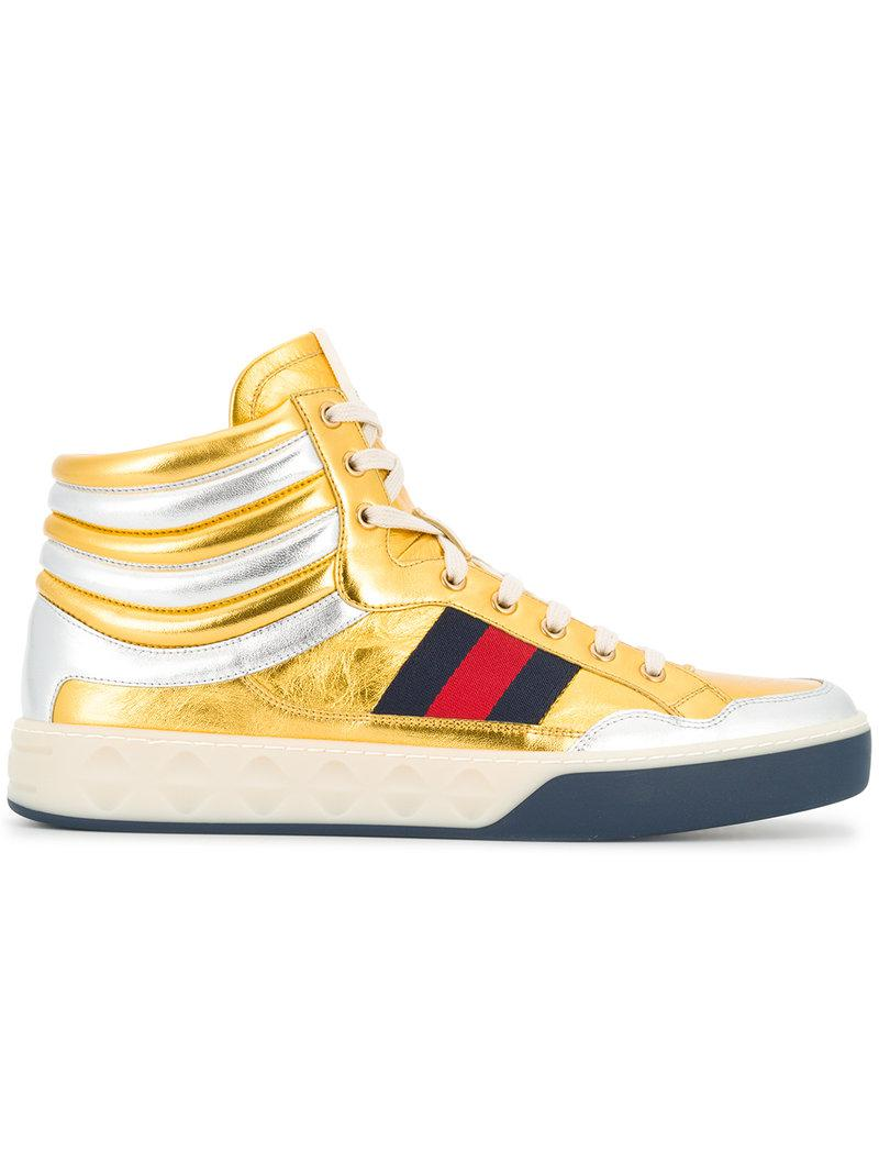 d263d2ed73d Gucci Metallic Hi-top Sneakers in Metallic for Men - Lyst