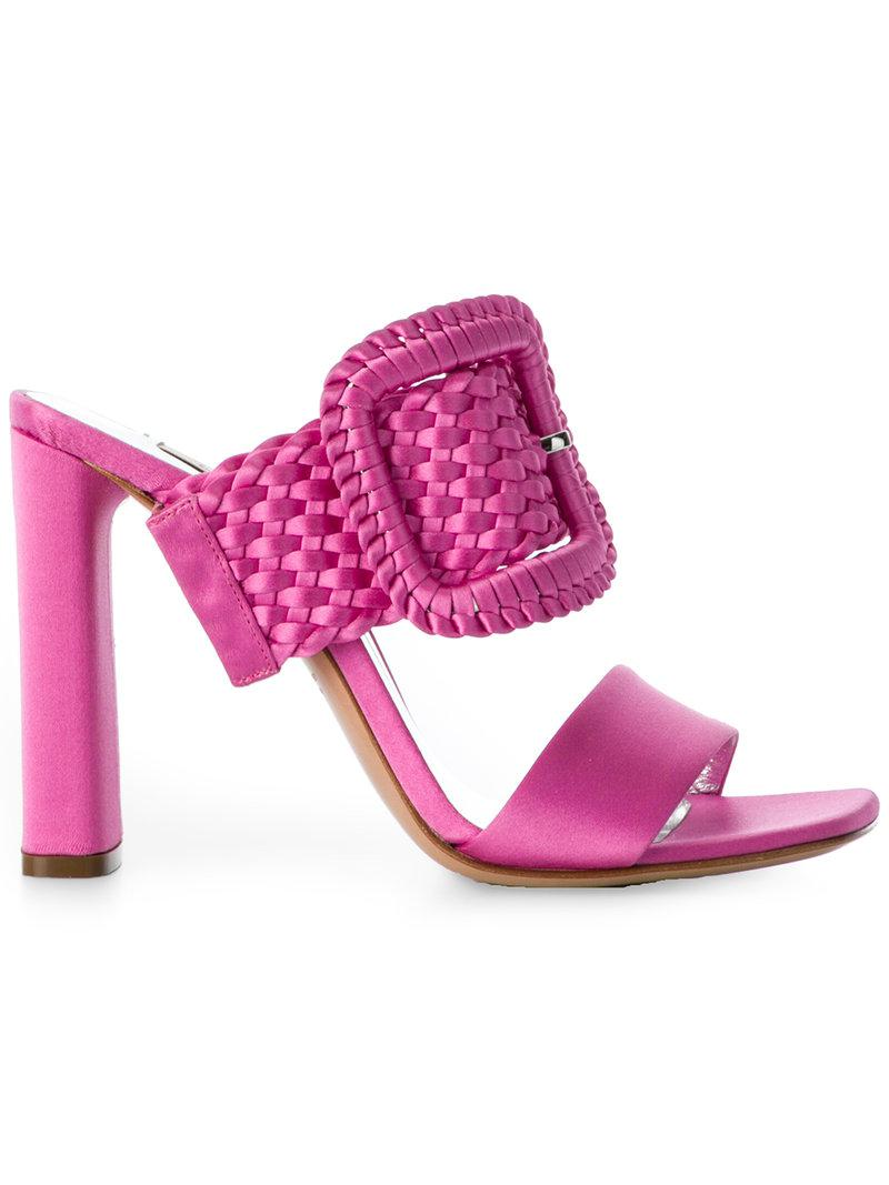 dcc5e5e4caa4 Lyst - Casadei Braided Buckle Mules in Pink