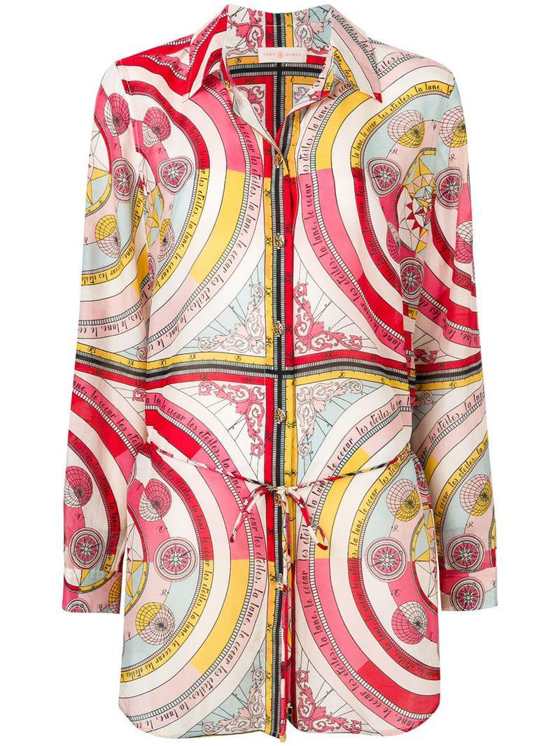 617ad20c121 Tory Burch Fantasia Print Long Shirt in White - Lyst