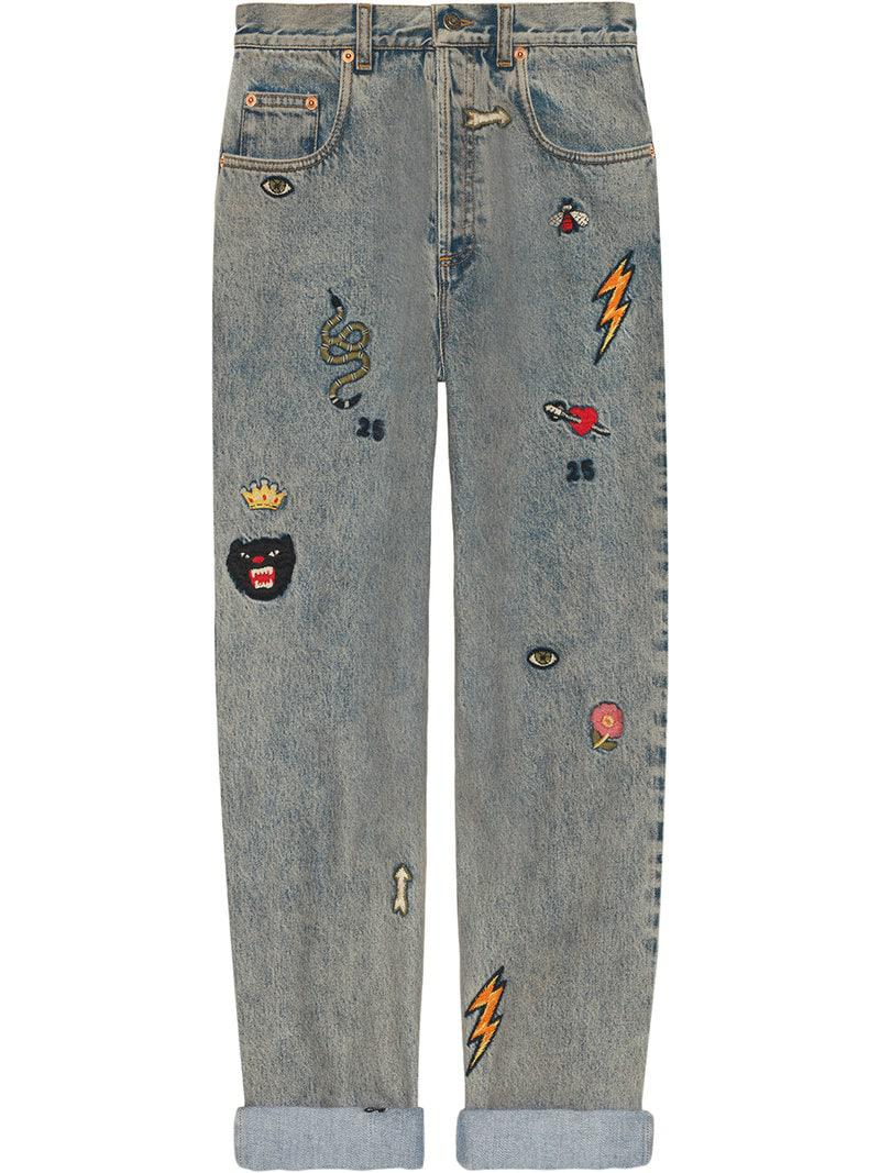 dac99e3ee75 Gucci Symbol Denim Jeans in Blue - Lyst