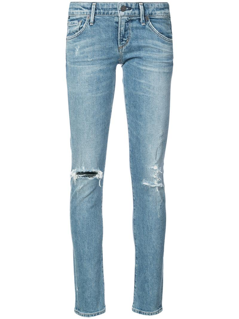 lyst citizens of humanity distressed skinny jeans in blue. Black Bedroom Furniture Sets. Home Design Ideas