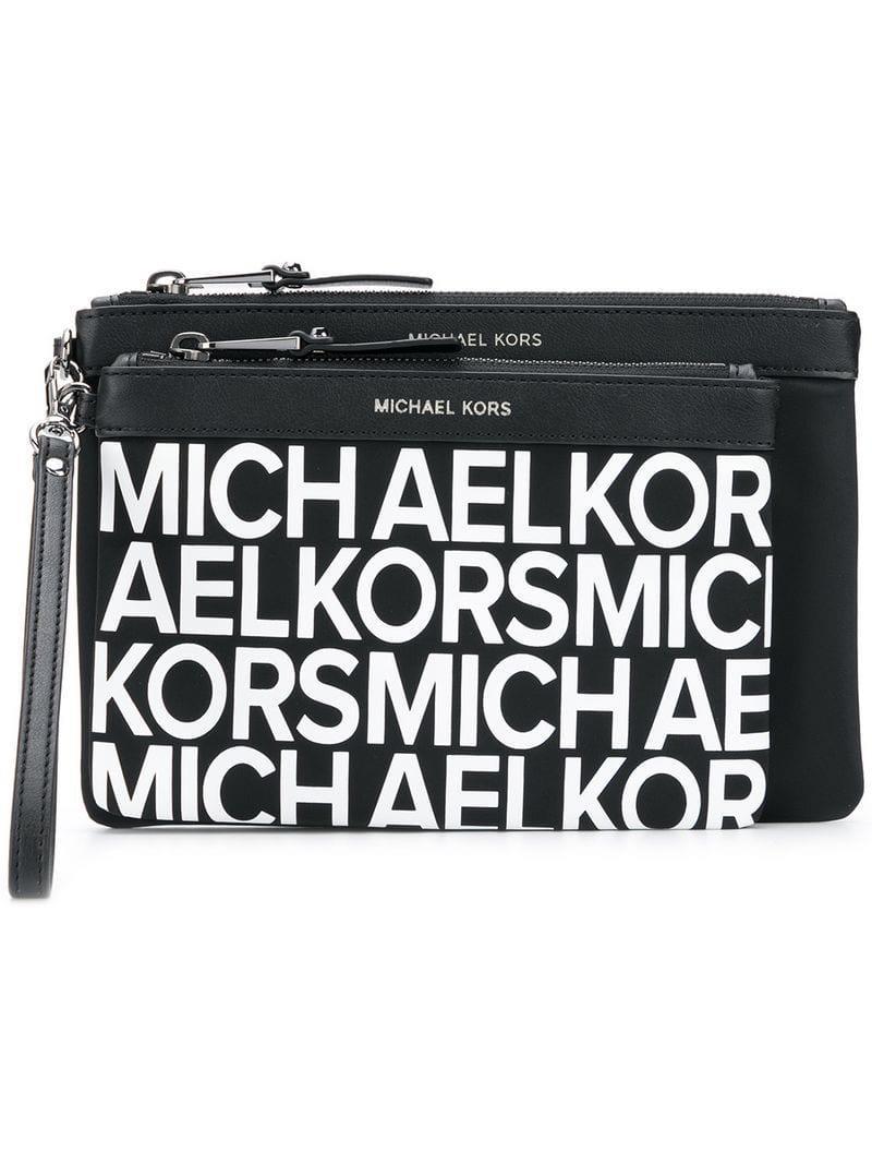b0cf3b8c37c Lyst - Pochette à logo MICHAEL Michael Kors en coloris Noir