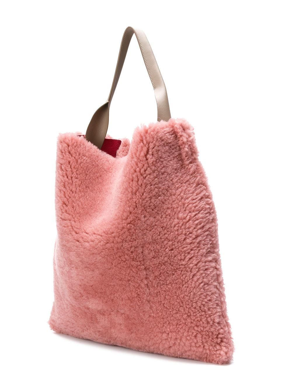 c497e93a76 Jil Sander Xiao Shearling Tote in Pink - Lyst