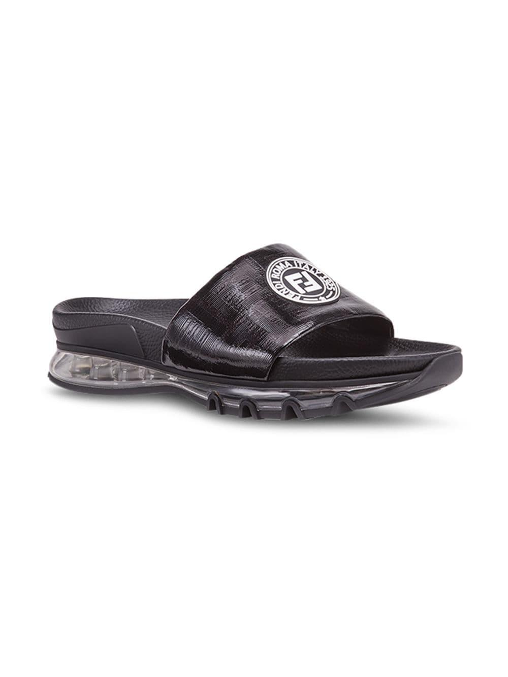 2c205f96c469 Fendi - Black Logo-patch Sandals for Men - Lyst. View fullscreen