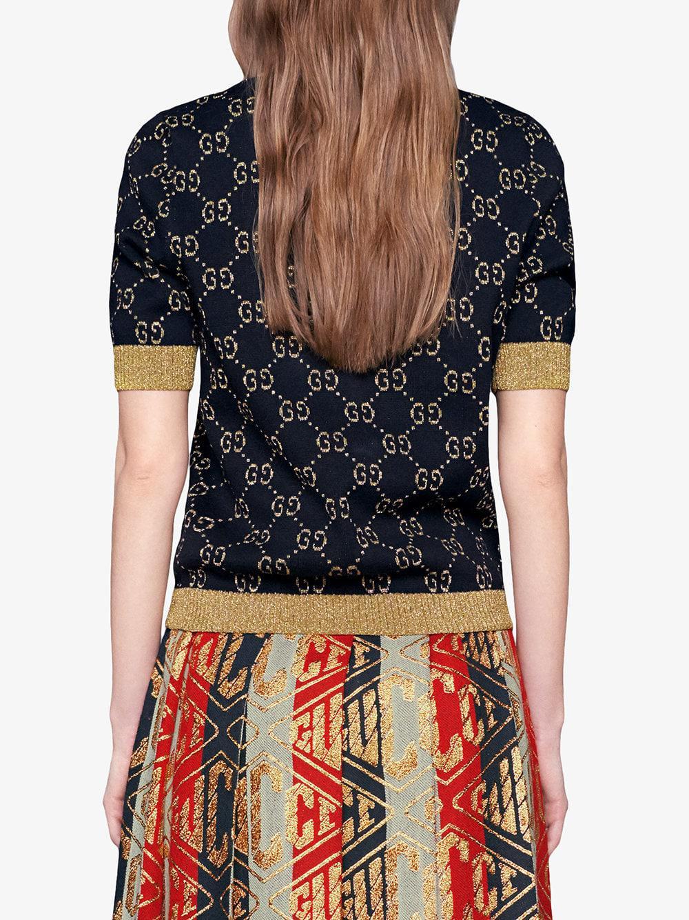4ed15f0d5 ... Gucci - Blue GG Cotton Lurex Top - Lyst · Visit Farfetch. Tap to visit  site