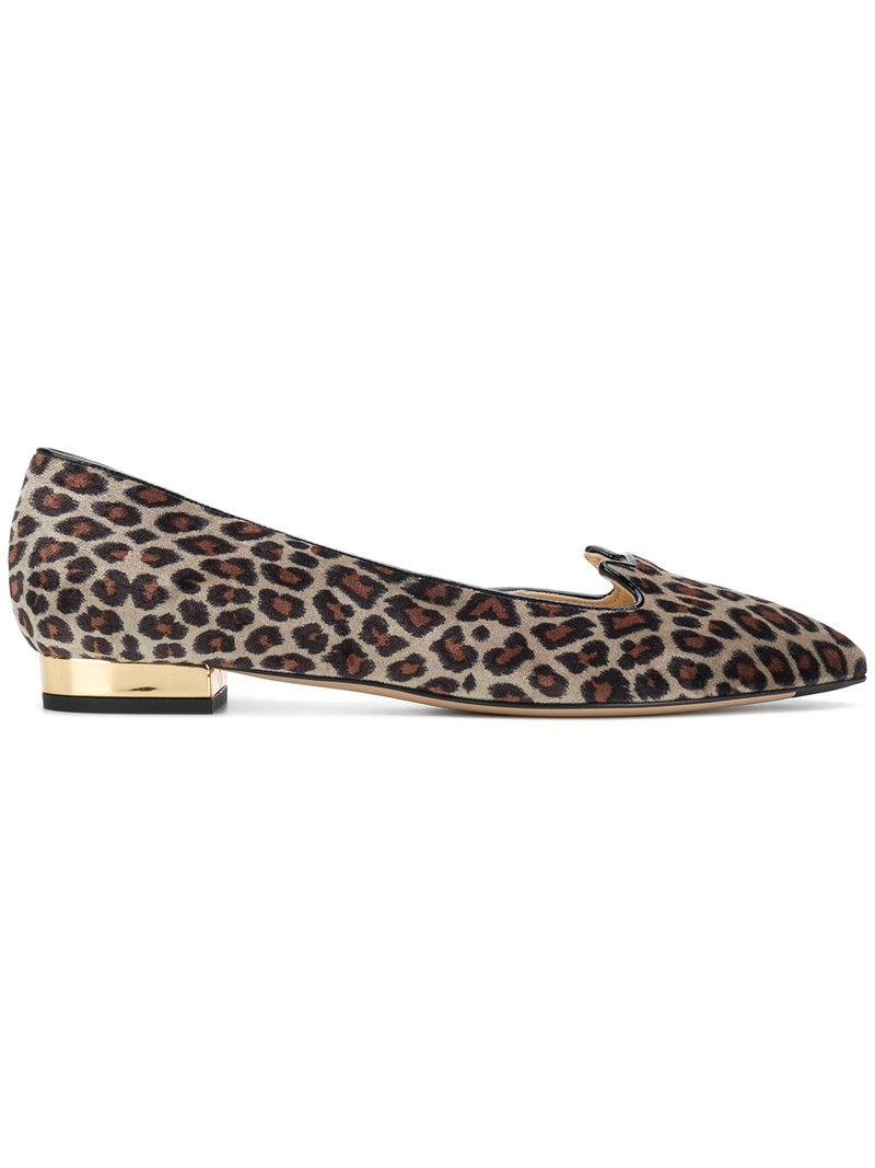 Charlotte Olympia leopard print ballerina shoes - Brown farfetch Pelle