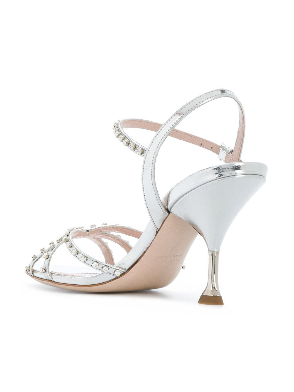 Miu Miurhinestone embellished metallic sandals