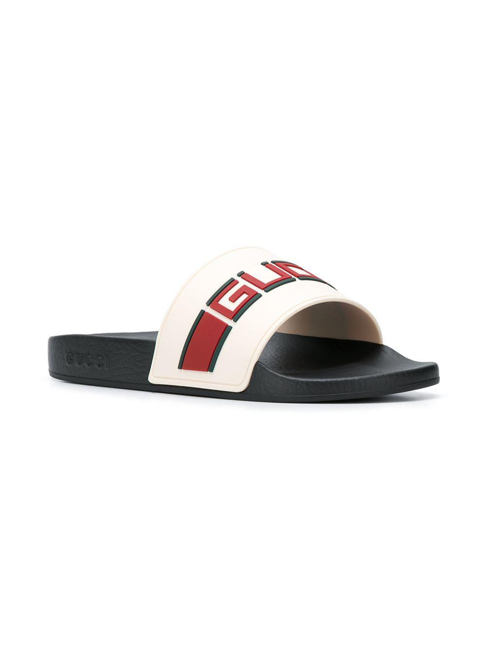 5c53ee19f2fd Lyst - Gucci Logo Print Slides in White for Men - Save 12%