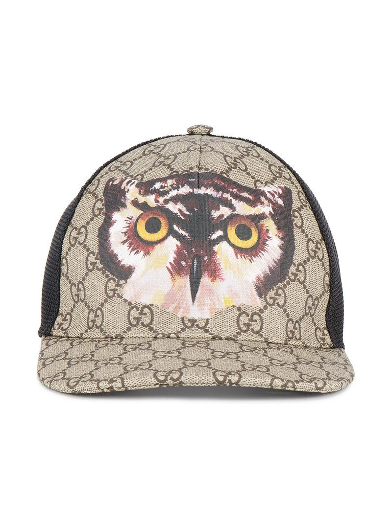47b0947f0e8 Lyst - Gucci Owl Print Gg Supreme Baseball Hat in Brown for Men