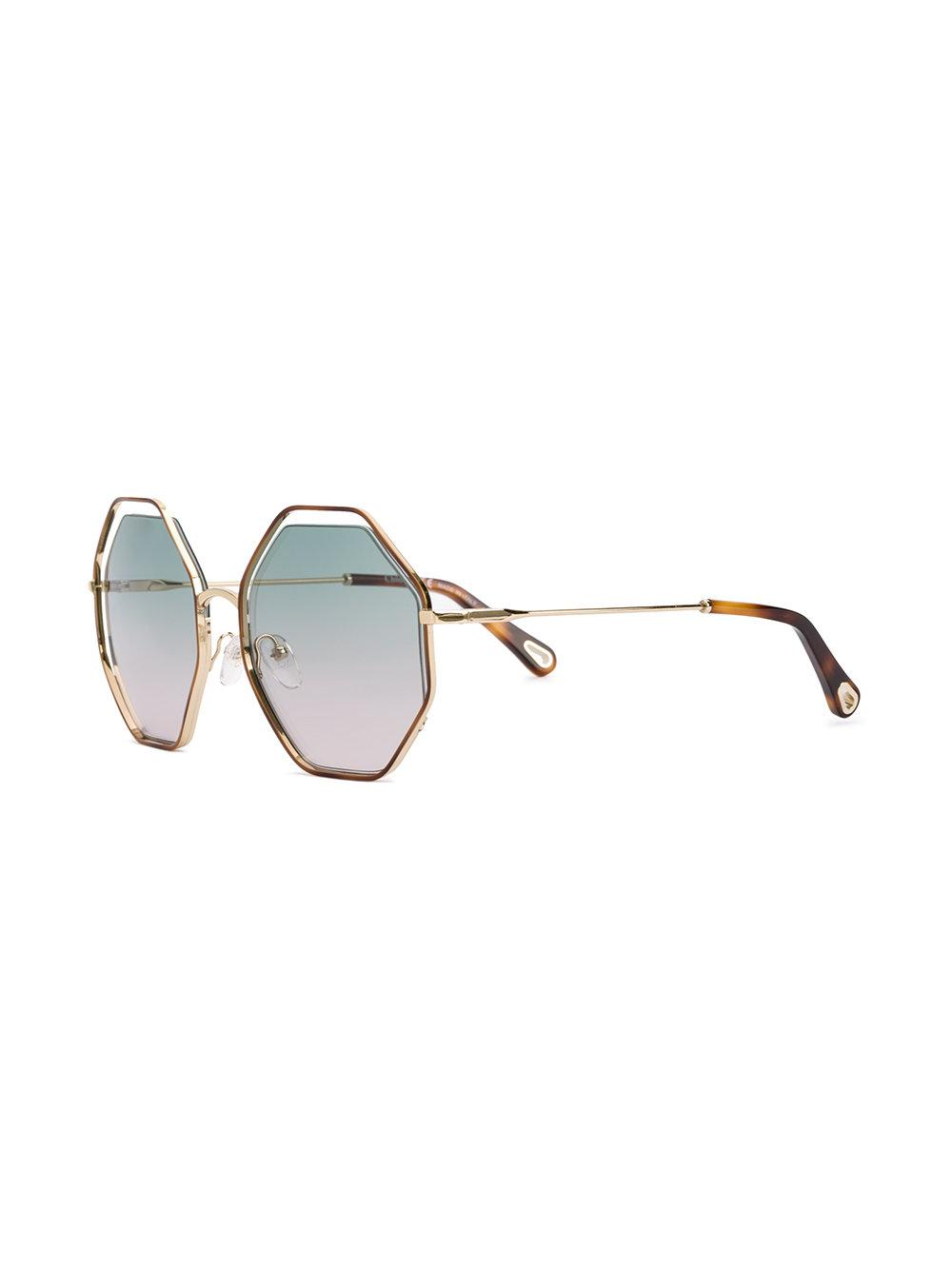 691eb02bc1ef Chloé Oversized Hexagon Sunglasses in Brown - Save 3% - Lyst