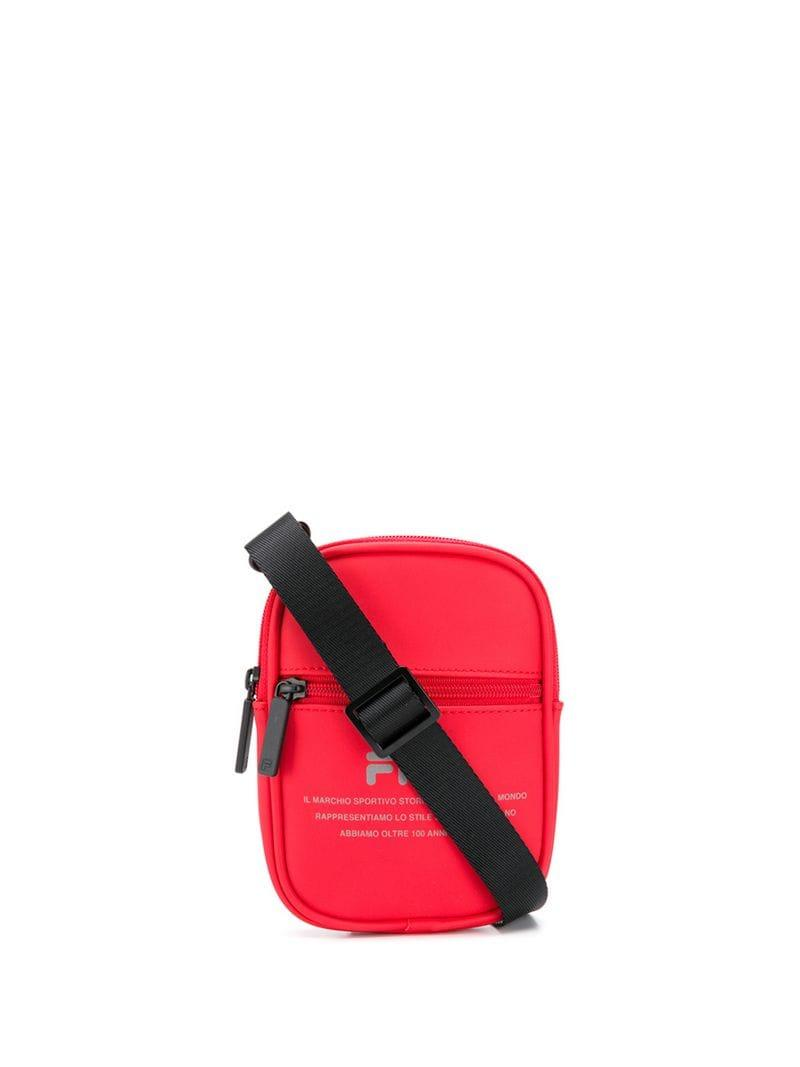 9bd76dcd97 Fila Logo Print Shoulder Bag in Red - Lyst