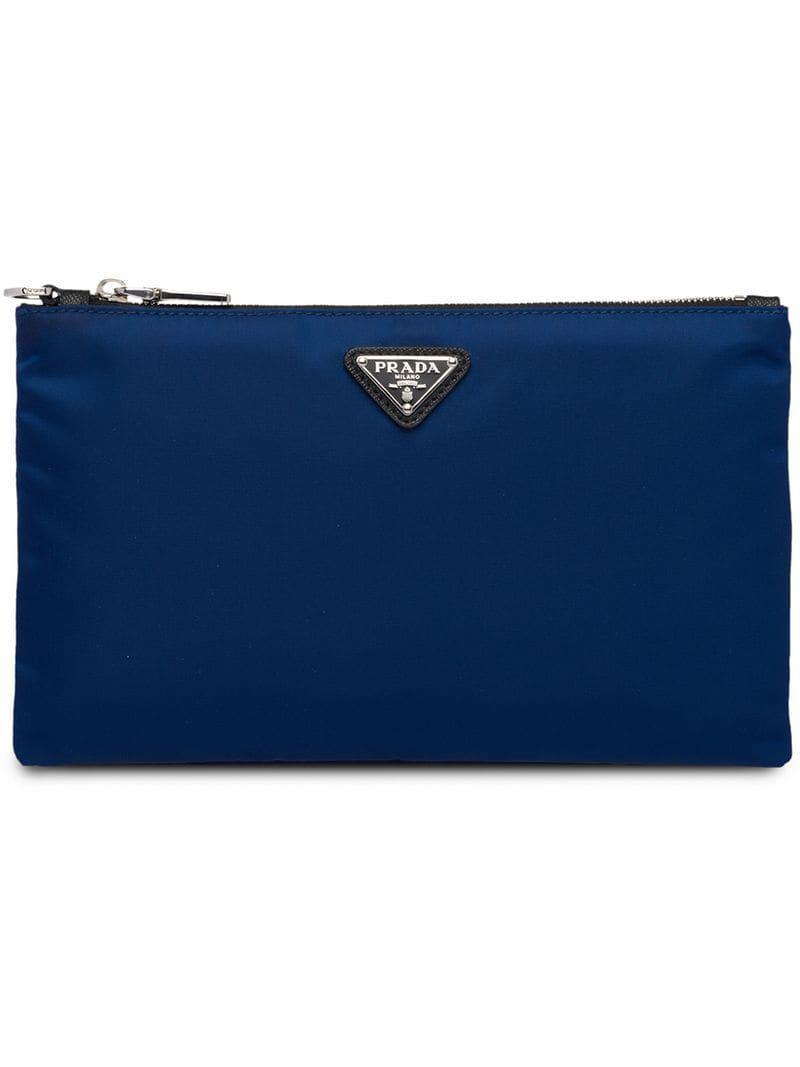 e8da8aa1ff6f Prada - Blue Logo Plaque Pouch for Men - Lyst. View fullscreen
