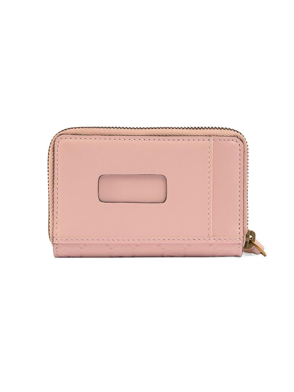 54689e8c5a69 Gucci Signature Card Case With Cat in Pink - Lyst