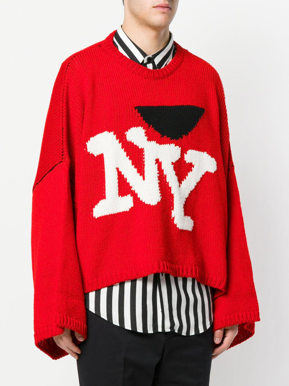 Lyst Raf Simons Ny Jumper In Red For Men