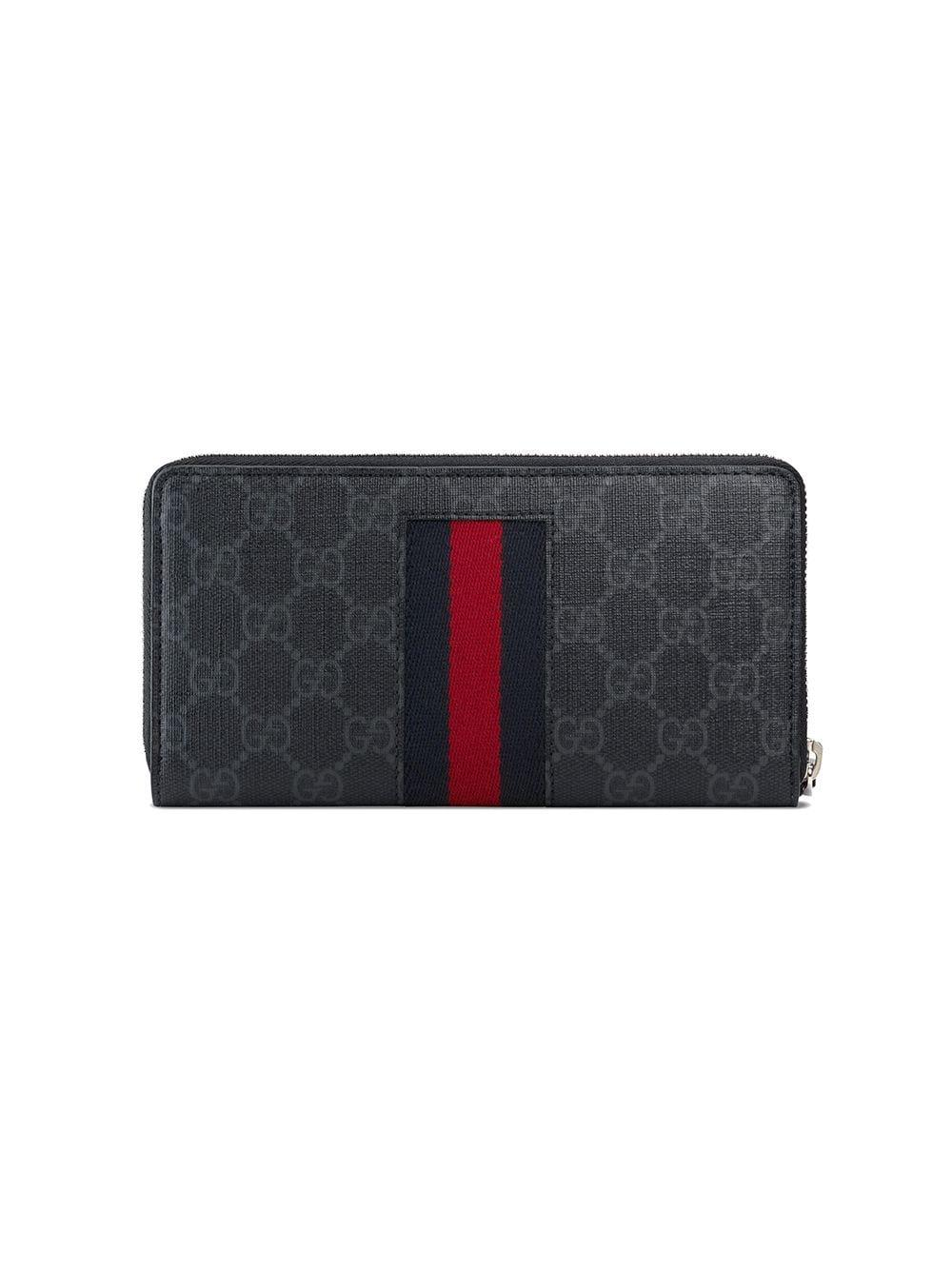 cee82e2e1377 Lyst - Gucci Black GG Supreme Web Zip Around Wallet in Black