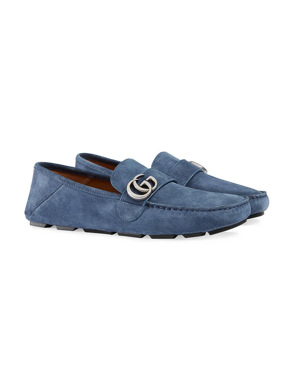 c41b89e3f2e Lyst - Gucci Suede Driver With Double G in Blue for Men