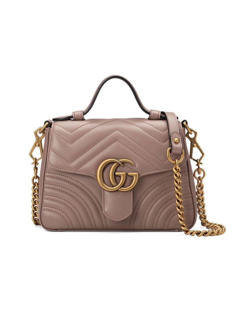 016eedc739c0 Gucci GG Marmont Mini Top Handle Bag in Pink - Lyst
