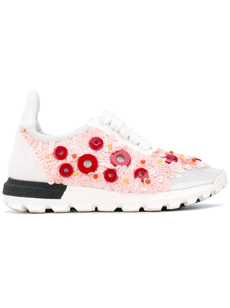 Lyst - NO KA  OI Button Embellished Sneakers in White 1f0e66fe2