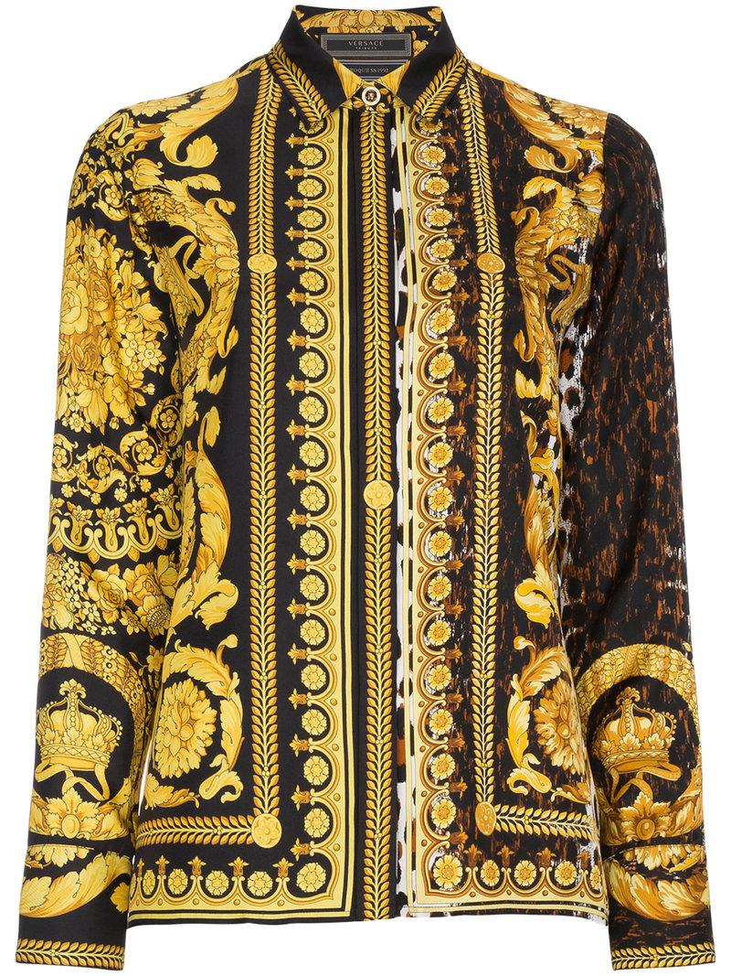 8a9e04b2eb6952 Lyst - Versace Barocco Fw  91 Silk Shirt in Black - Save 23%