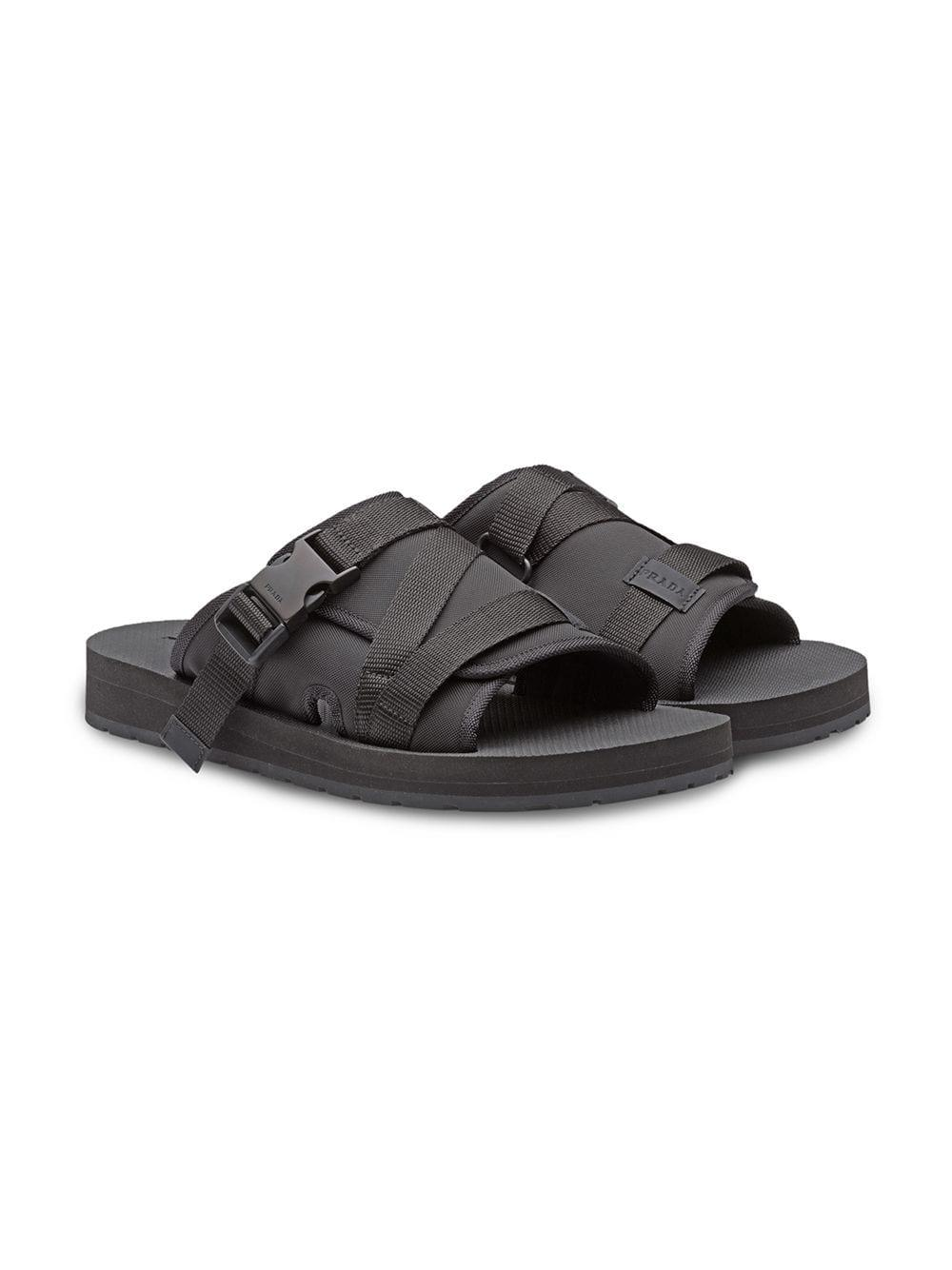 5fc5defe5ad9 Prada Buckle Open-toe Sandals in Black for Men - Save 4% - Lyst