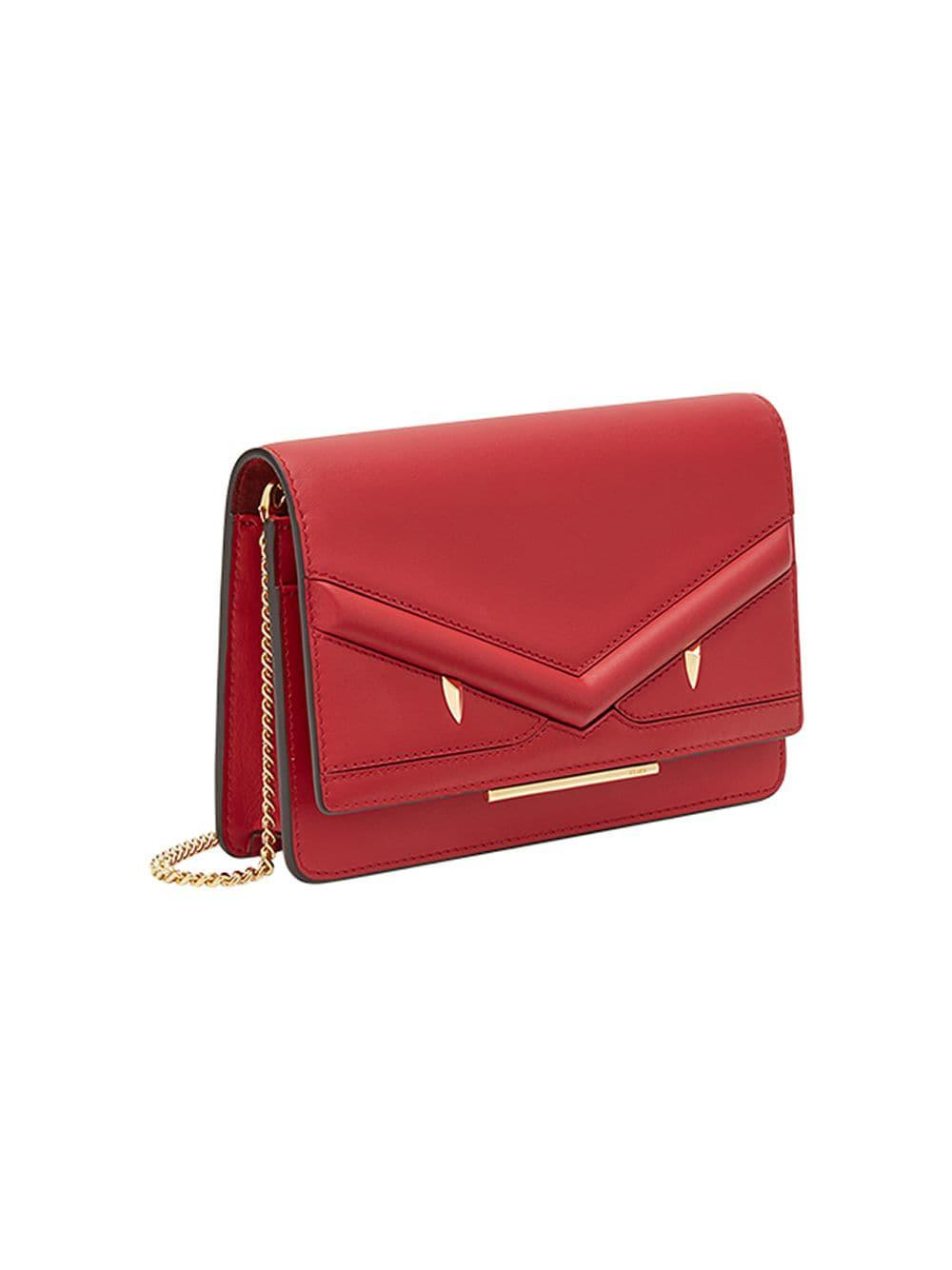 dd91cbc6258f Fendi Wallet On Chain Mini Bag in Red - Lyst