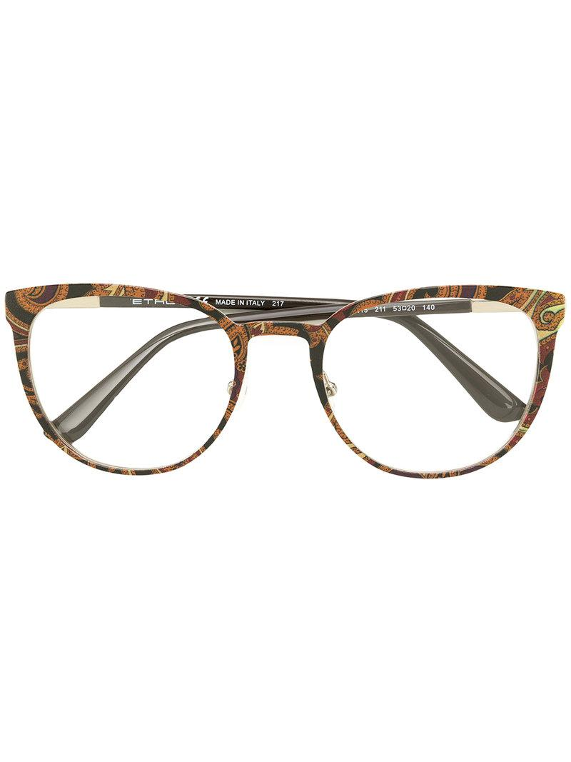 2bd710a52b14 Etro Printed Square Frame Glasses in Metallic - Lyst